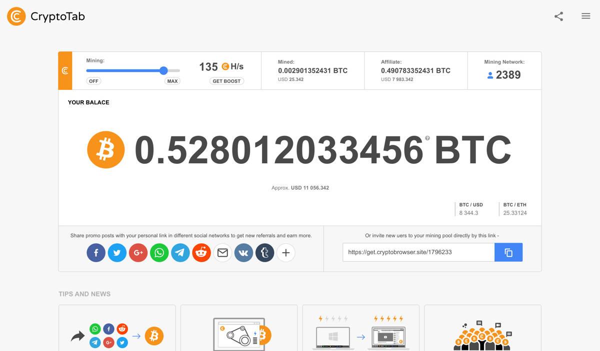 cryptotab browser web mining